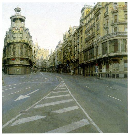 Grand Via by Antonio López García, 1974-1981, oil painting, 35½ x 36¾.