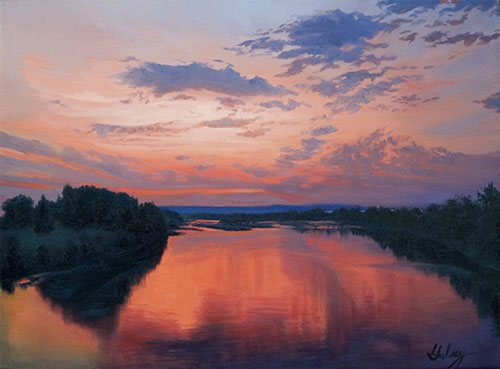 Peace on the River by John Hulsey, oil painting.