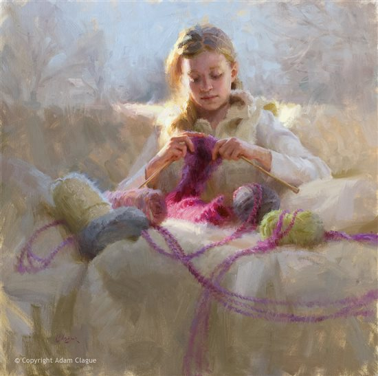 Knitter's Gift by Adam Clague, 30 x 30, oil painting.