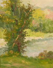 Plein air painting titled On the Little Miami by Jennifer King
