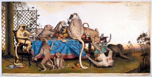 The Sensorium by Walton Ford, 2003, watercolor, gouache, pencil and ink on paper, 152.9 x 302.3 cm.