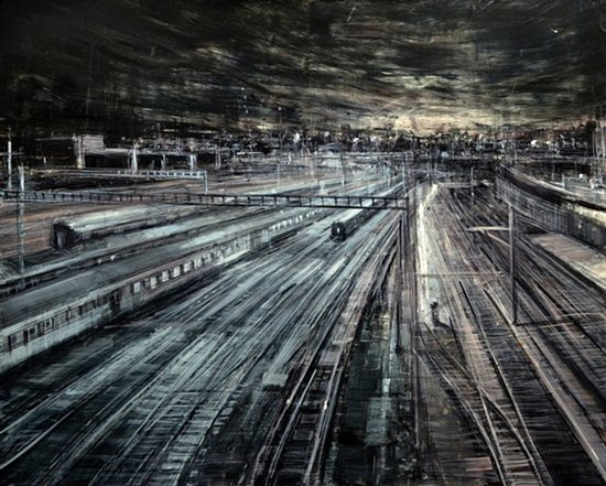 Train Tracks by Valerio D'Ospina, 2011, oil on melamined MDF, 30 x 24.