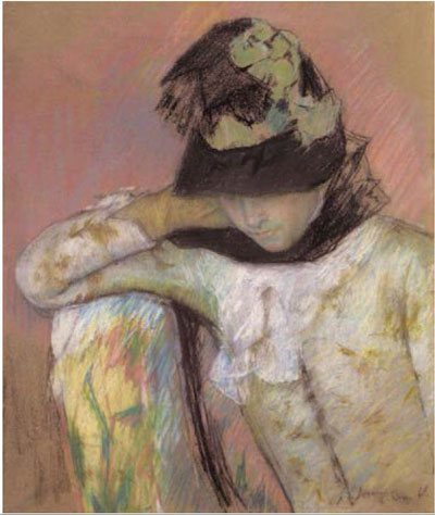 Young Woman in a Black and Green Bonnet, Looking Down by Mary Cassatt, ca. 1890, pastel drawing, 25 5⁄8 x 20 1/2.