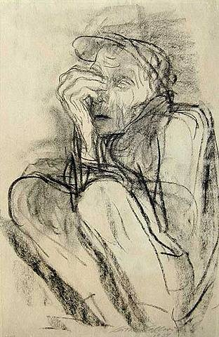 Death on the Road by Kathe Kollwitz, charcoal figure drawing, 19 x 12.5, 1934.