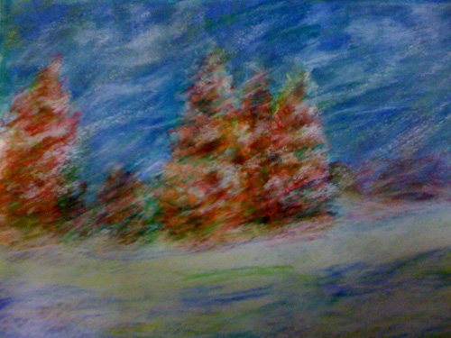 This is a monotype print I just made of a winter scene. I went over it with pastel to get the motion of the swirling, whirling snow. It'll make a great card for some lucky friend this season!