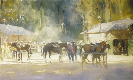 Last Ride at Vernal Falls, Yosemite by Frank Eber, watercolor painting.