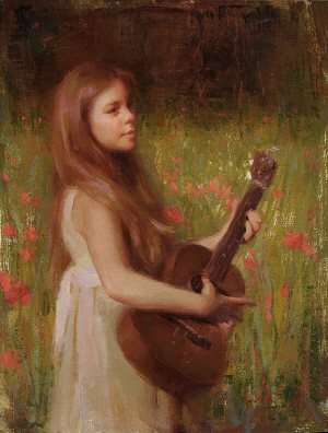 Maya with Guitar by Susan Lyon, oil painting, 12 x 9.