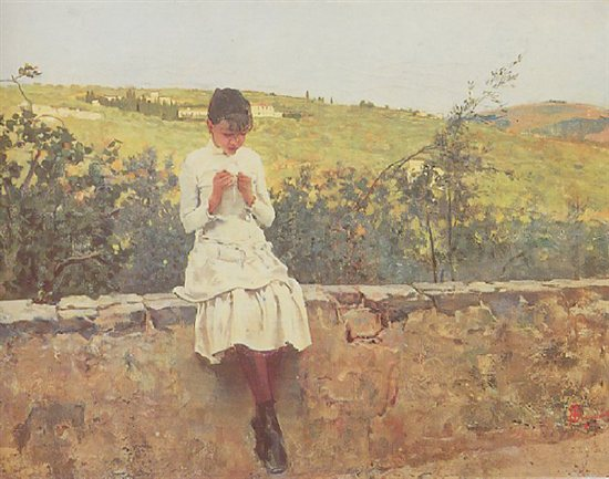 On the Hills to Settignano, by Telemaco Signorini, 1885, oil painting, 14 1/2 x 20. Private collection.