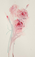 Asian influenced brushwork creating beautiful carnations in a simple composition.