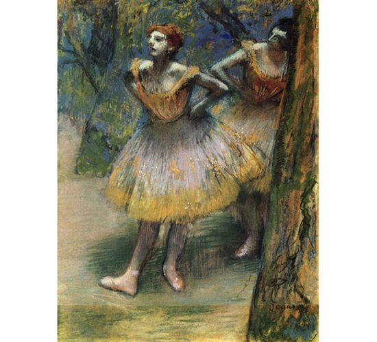 One of the offerings in the show is Degas' Two Dancers, a pastel painting on Canson vellum paper.