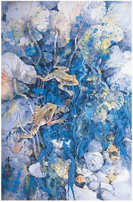Water Lily and Frogs by Lian Quan Zhen, Chinese ink and color on mature Shuan paper, 26 x 18.