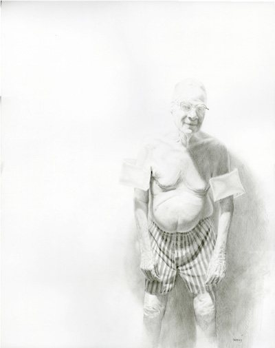 Len With Swimmies by Jason Bard Yarmosky, graphite drawing, 24 x 18.