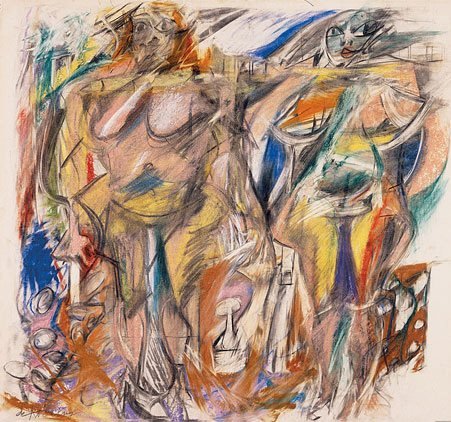 Two Women with Still Life by Willem de Kooning, pastel and charcoal on paper, 22 1/4 x 18 3/4 in., 1952.