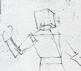 Stereometric Man (detail) by Albrecht Dürer, 11½ x 8, drawing from artist's notebook.
