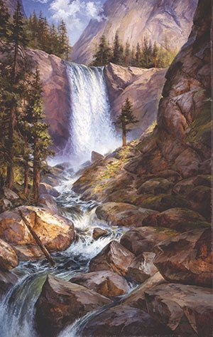Vernal Falls by Stefan Baumann, 2003, oil, 27 x 17.