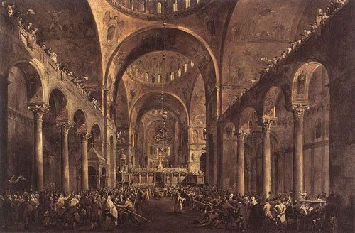 Guardi's architectural depictions were definitely included in my scrapbooks. I love the way he captures the vastness as well as the ornate delicacy of Venetian architecture.