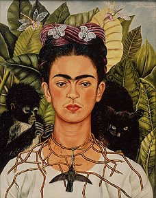 Frida Kahlo often included symbolic objects and personal mementos in her self-portraits.