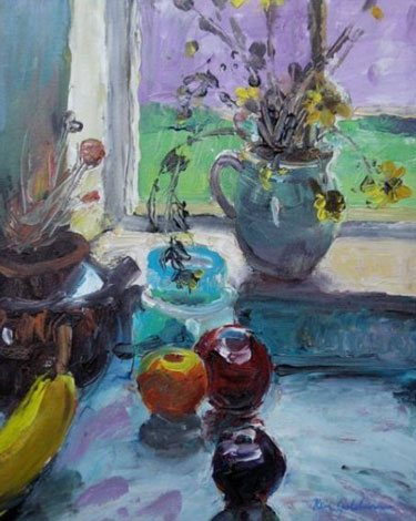 Backlit Still Life 1 by Ken Goldman, acrylic on canvas, 18 x 14.