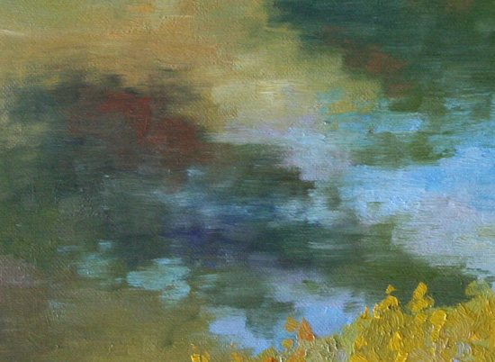 Detail of Jennifer King's plein air painting, River Reflections.