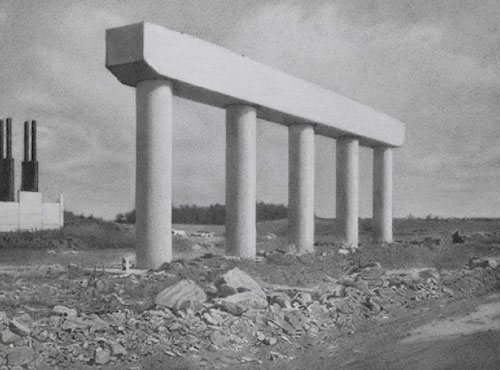 US 24 Road Project - Support Columns by Charles Kanwischer, 2010, graphite on panel, 11 3/4 x 15 3/4.