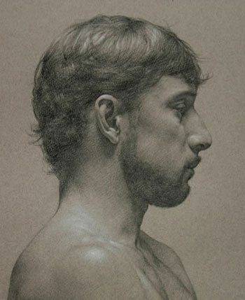 Oscar Mendoza (profile) by Tony Ryder, 2005, graphite and white pastel drawing on tinted paper, 18 x 14.