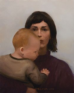 Max and Me by Dana Levin, oil on panel, 10 x 8, 2010.