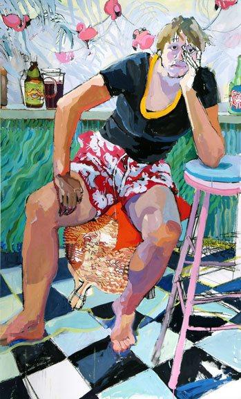 Joan Becker's watercolor painting, Tiki Bar.