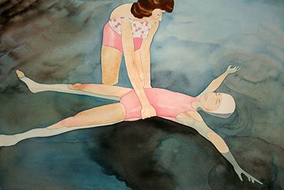 "Mom Learning to Float, watercolor, 24"" x 40.5"", 2006."
