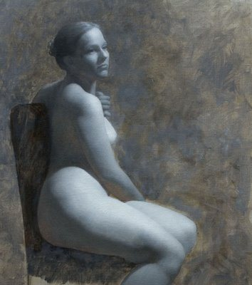Grisaille of a Seated Female by Hyeseung Marriage-Song, 24 x 20, oil on linen, 2008.