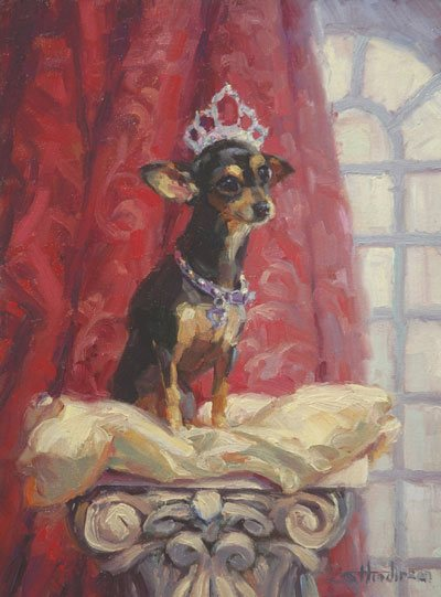 She's cute, but not so blindingly so that I want to kiss her nose. Ruby by Steve Henderson, 12 x 9, oil painting.