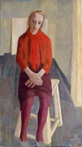 Giubbetto rosso by Felice Casorati, painting, 1939.
