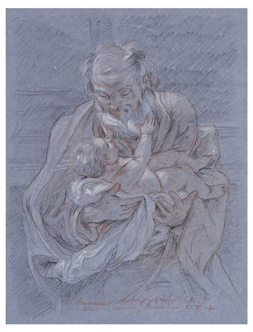 Trois crayons drawing copy of Baciccio's St. Joseph and the Christ Child, from the Norton Simon Museum, Pasadena, 2007.
