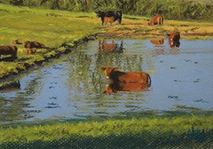 The First Hot Day by John Hulsey, 5 x 7, pastel painting.