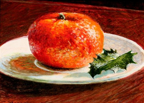 Orange and Holly by Alan Bateman, acrylic painting. Alan also won our Move Over Hallmark! Holiday Card contest.
