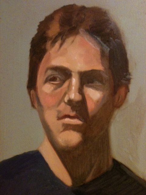 Portrait of male figure by Judith St. Ledger-Roty, oil painting.