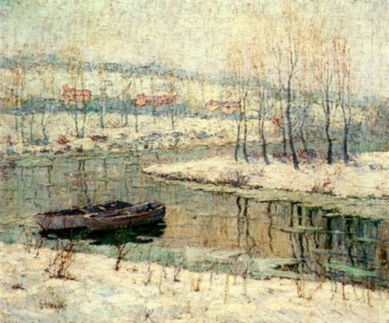 Spring Thaw by Ernest Lawson, oil painting, c. 1907.