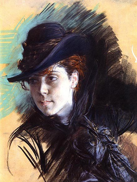 Abstract painting & Boldini: Girl in a Black Hat by Boldini, pastel, 1890.