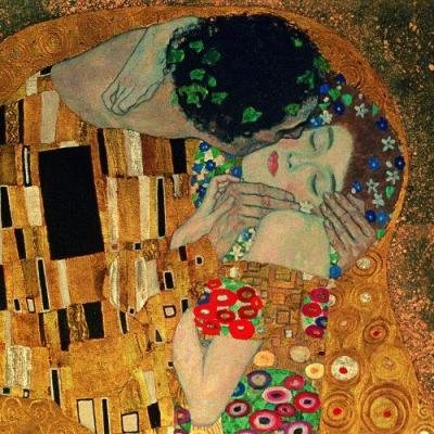The Kiss by Klimt, detail.