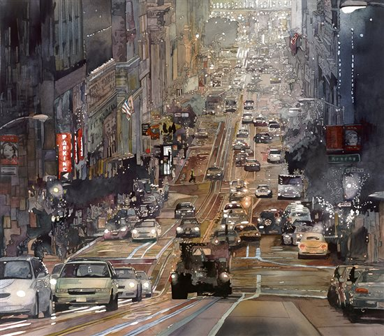 Evening Cable Car by John Salminen, watercolor painting.