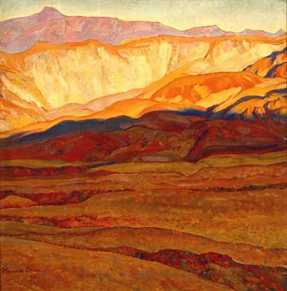 A Desert Valley: Panamint, California by Maynard Dixon, 1922, oil painting.