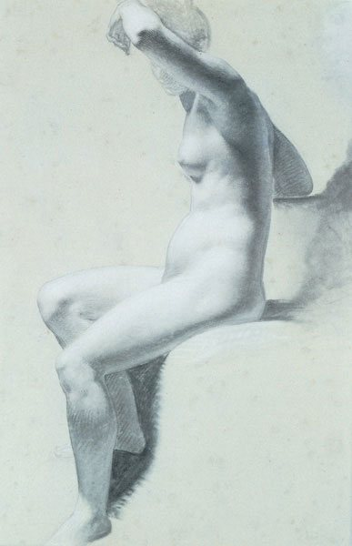 Seated Nude Woman by Prud'hon, black and white chalk on blue paper, 22 x 15.