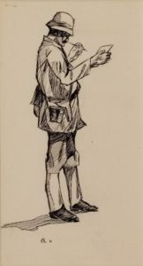 The Bengal Writer by Edward Hopper, n.d., pen and ink on paper, 8 x 5 in. Collection of Mr. and Mrs. Bruce C. Loch.