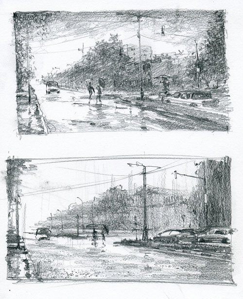 Two graphite preparatory sketches for a watercolor painting.