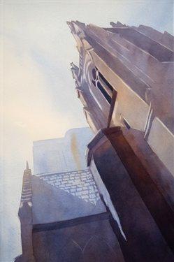 Philadelphia Story II--Spires by Sarah Yeoman, watercolor painting, 14 x 20.