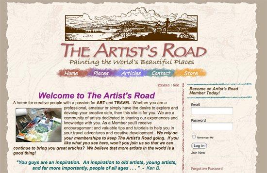 Plein air painting website, The Artist's Road