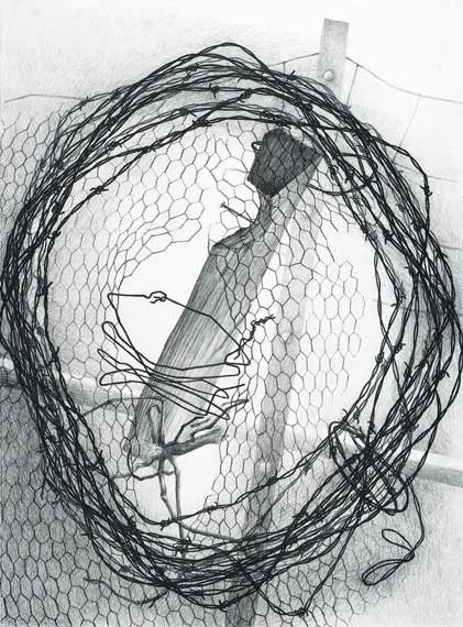 Wreath by Joan Wadleigh Curran, charcoal drawing on paper, 30 x 22, 2009.