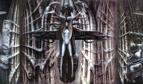 H.R. Giger has an amazing way of manipulating a very limited color palate into an extraordinary range of color.