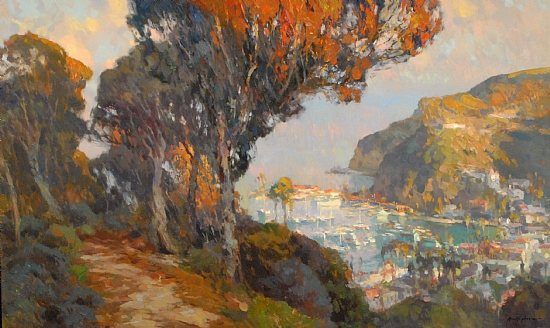 Santa Catalina Island by Kevin MacPherson, oil painting, 30 x 50.