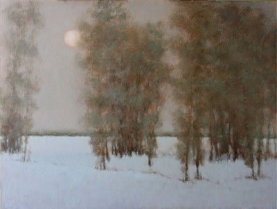 Winter Moon by Nancy Bush, 2008, oil painting 30 x 40. Courtesy Astoria Fine Art, Jackson Hole, Wyoming.