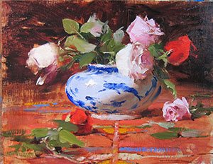 Robert Johnson's floral still life demonstration began with a studied, thoughtfully arranged composition (left) that culminated in the oil painting on the right.